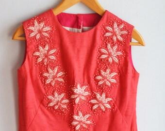 """1950's Vintage Embellished Linen Spring Crop Top/Bust 34"""""""