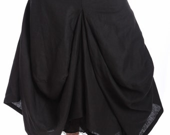 Plus Size Skirt, Plus Size Linen Clothing, Lagenlook Clothing, Plus Size Linen Skirt, Black Skirt, Gothic Skirt, Women Skirt,Steampunk Skirt