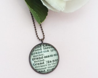 Grandma Word Necklace, Gift from Grandchild for Nana or Grandmother to be, Vintage Dictionary Pendant Keepsake Jewelry