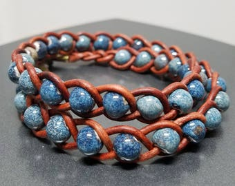 Robins Egg Blue Beads/Brown Leather Braided Bracelet, with clasp