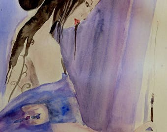 watercolor, girl's writing, a Japanese