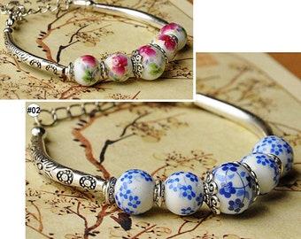 1PC China Jingdezhen Porcelain Jewelry Beads Weave Fambe Flower Ceramic Bracelet Handmade