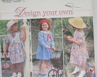 Vintage 1995 Sewing paper pattern girls dress pattern size 5-6-7-8 uncut   Simplicity 9460