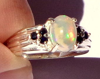 Sz 6.5, Welo Ethiopian Opal, Sterling Silver Ring,Natural Blue Sapphire Accents,Pastel Color Play,Lavender,Green,Peach and Yellow,OOAK