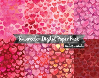 Valentine's Day Heart Digital Paper Pack, Watercolor Backgrounds, Commercial Use