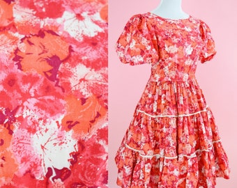 Vintage H And C California Ranchwear Dress // Red, 1950s, Honky Tonk, 60s Floral, Womens Size Medium Large