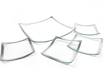 Vintage set of 5 glass plates with silver rims - 1 large for serving, 4 smaller for dining