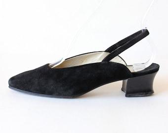 Vintage Joan & David Black Suede Low Heel Slingbacks, size 7