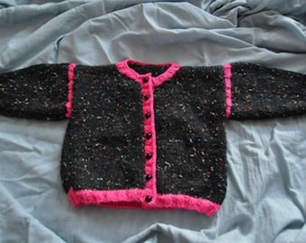 Black and pink vest 6 months hand knitted