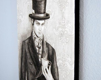 Mad Hatter Art Limited Edition Canvas Print 10x13 Alice In Wonderland Art Giclee