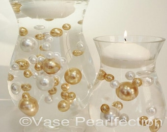 Gold & White Pearls- Jumbo/Assorted Sizes Vase Fillers for Centerpieces
