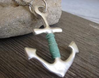 Anchor Necklace - Anchor Pendant - Long Necklace - Silver Necklace - Silver Pendant - Nautical Necklace - Statement Necklace - Minimalist