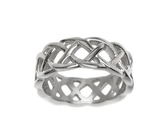 Mens Braided Ring, Stainless Steel Jewelry for Men Wedding Band, Best Man Gift, Jewellery for Him