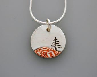 "Mixed metal jewelry ""Little Tree"" pendant, silver and mokume mixed metal pendant"