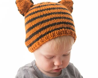 Tiger Baby Hat KNITTING PATTERN / Tiger Hat Pattern /Baby Tiger Hat/Safari Baby Shower/Jungle Baby Shower/Knit Tiger Pattern/Baby Animal Hat