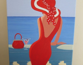 Original Art Painting Lady on balcony Red Dress, Handbag purse Hat cocktail on canvas 16 x 12 inches