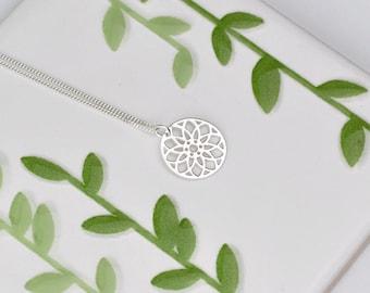 Sterling Silver Mandala Necklace, Silver Daisy Mandala Necklace, Silver Daisy Necklace,