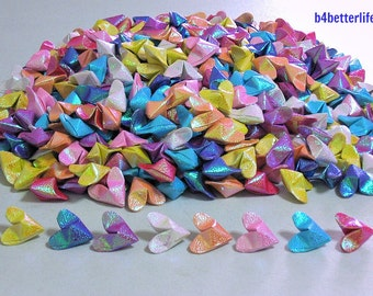 "Lot of 500pcs Medium Size 3D Origami Hearts ""LOVE"" In Assorted Colors. (RS paper series). #FOH-101."