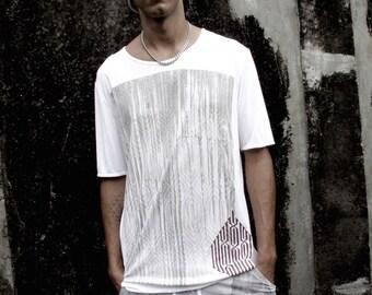 Men Sleeveless Top Shirt, Calligraphy Print, Arabesque, Hand Screen Printed Top, Burning Man, Screen Print Art