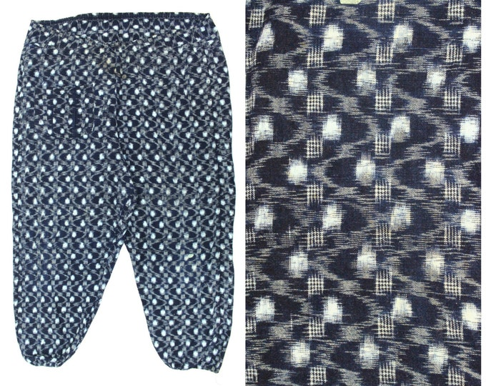 Monpe Pants, Japanese Kasuri Ikat Farming Wear - Vintage Noragi (Ref: 1165)