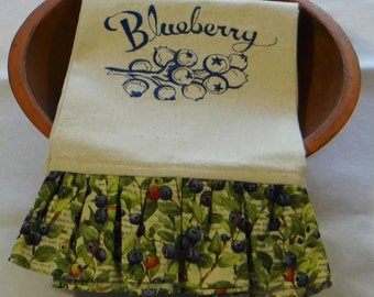 Fresh Blueberries Ruffled Osnaburg Tea Towel Dish Towel Kitchen Towel
