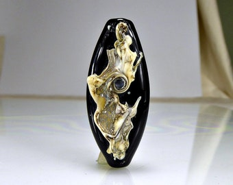 Black Silvered Ivory Lampwork Focal Bead