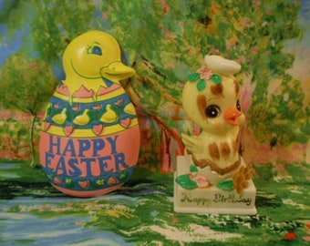 Vintage Easter/Birthday Decorations-Chick Cake Over Lay - Hard Plastic Figure