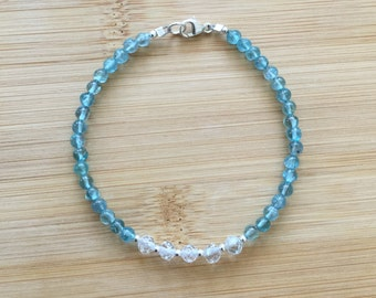 Apatite and White Topaz Bracelet, Beaded Bracelet, Blue and White Bracelet, Topaz Jewelry, Wedding Jewelry, Apatite Stackable Bracelet