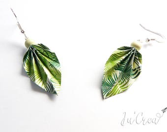 Origami jungle leaf earrings