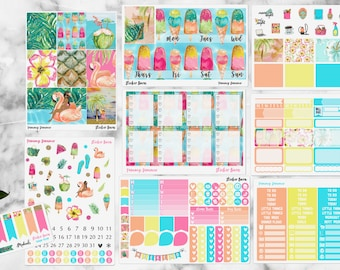 Poolside Summer Kit Erin Condren Vertical | Yummy Summer Sticker Kit | Planner Sticker Kit | Summer Time Stickers