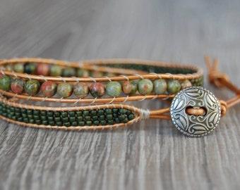 Green Beaded Leather Wrap Bracelet
