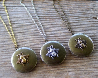 Rustic Bee Locket, Antiqued Brass Honeybee Locket Necklace, Silver Gold or Brass Bee Locket, Dark Brass Locket, Bee Jewelry, Mother's Day