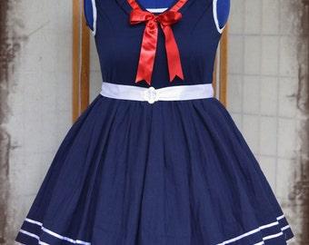 Lolita babydoll nautical sailor lolita cosplay dress adult--small to plus size