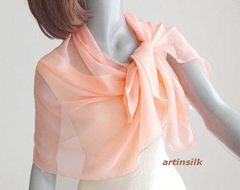 "Blush Peach Scarf, Sheer Apricot Wrap, Snorkel Blue, Petite Pink Coverup, Small Shoulder Wrap, Pure Silk Chiffon, petite 21x45"", Artinsilk"
