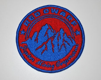 Red Dwarf Jupiter Mining Corporation Logo Fully Embroidered Sci-Fi Cosplay Patch - Red/Blue Variant!