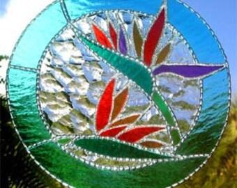 Stained Glass Suncatcher, Tropical Decor, Art Glass, Bird of Paradise, Flower Suncatcher, Glass Sun Catcher, Tropical Art, Sun Catchers 9537