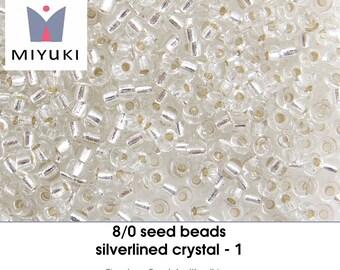 8/0 silverlined crystal - 1 - seedbeads