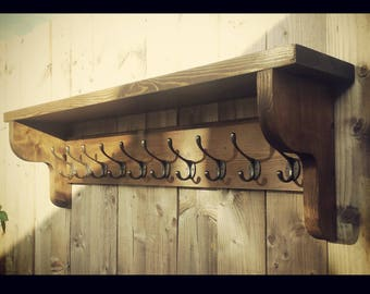 Handmade Vintage Style Coat Rack with Shelf