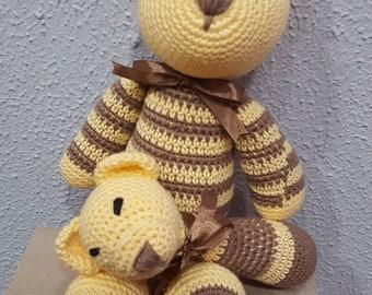 Doll set bear and rattle, soft crochet teddy, bear and crochet rattle, teddy bear, crochet rattle. Baby Gift