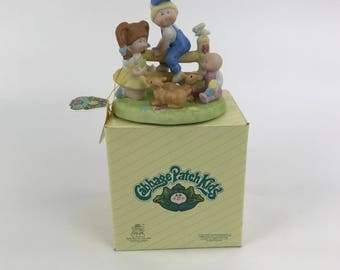 Vintage Cabbage Patch Kids Porcelain Figure, 1983 Figurine Deer Friends Style No. 5019  with Original Box and Hang Tag, Collectible CPK