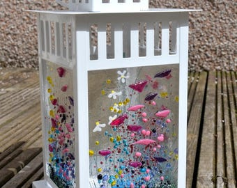 Handmade Fused Glass Art - Wildflower Lantern