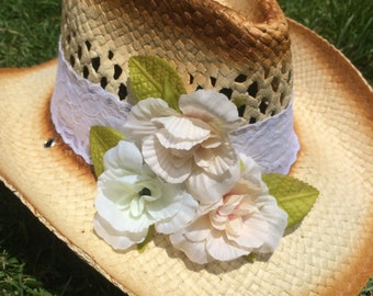 Country Chic Lace Flower Cowgirl Hat