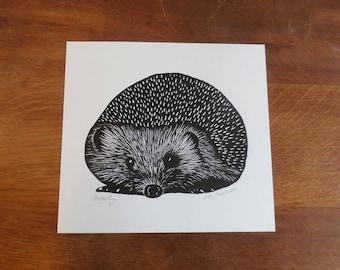 Hedgehog, Original Linocut Print, Open Edition, Singned,  Free Postage in UK, Hand Pulled, Printmaking,
