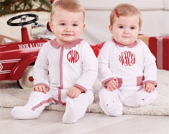 15.00   CLEARANCE !!! SALE!!!! Monogrammed Velour Footed Sleeper, Twins Christmas, Baby Girl christmas, Mudpie Santa, Santa Claus, First Chr
