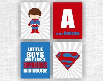 INSTANT DOWNLOAD Superman Super Hero and Name wall art, Super Hero BOYS Quote Prints, Nursery Printable, Boy Room Decor Art, Set of 4, 8x10