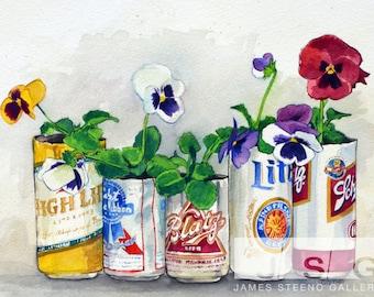 Milwaukee Beer Garden Watercolor Art Print by James Steeno