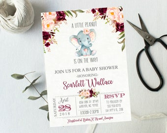 Little elephant Shower invitation, Floral Jungle Spring Baby Shower Vintage Elephant Pink  Girl burgundy Baby Wreath Old Paper Shower #1065