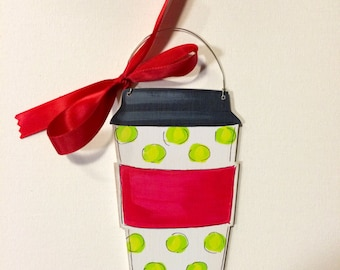 Coffee Ornament - coffee lover gift - barista gift - teacher gift - coffee cup ornament - personalized - polka dots - red and green - name