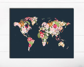 Art Art typographie Art Print Floral monde carte Art Print monde carte imprimer voyage imprimable carte impression voyage murale Art Floral Wall Art Tropical