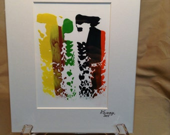 """8"""" X 10"""" Abstract Gouache painting on Yupo Paper – Matted and ready to be framed – Item # 471"""